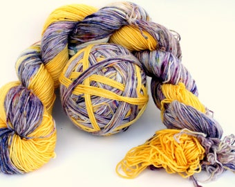 "Self Striping Sock Yarn, Superwash Merino and Nylon 75/25 Fingering Weight, in ""Sun Garden"""