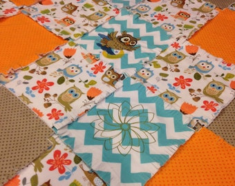 """Owl Fringed rag quilt kit, embroidered owl, 75 pre cut 8.5"""" squares, blue chevron, orange,3 layers of flannel,  ready to sew. finish  35x35"""