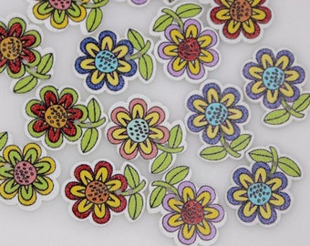 """30 PC Painted wood buttons 25mm - Wooden Buttons ,buttons, natural wood buttons """"sunflower"""" A107"""