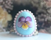 Needle felt Easter egg, spring Easter ornament, pastel blue color wool fiber egg, spring pansy motif, gift under 20
