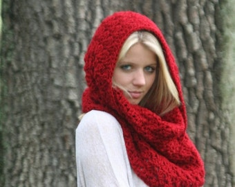 Trick Or Treat SALE Cowl Scarf Snood Crochet Shawl Hood Scarf THE IVERSON Cranberry