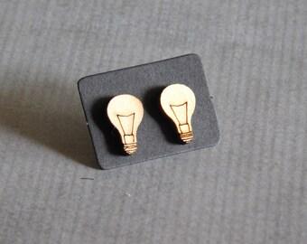 Lightbulb Wood Studs : Cute Laser Cut Earrings