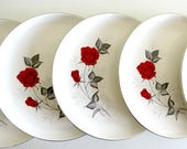 5 Mid Century Dinner Plates, Taylor Smith & Taylor, 1950s Vintage China, Moulin Rouge Pattern, Versatile Shape, Red Roses Gray Leaves