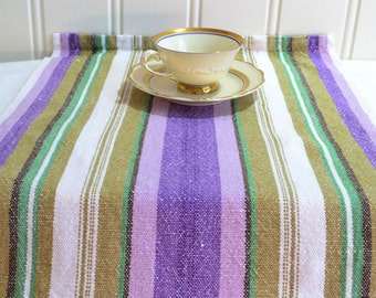 Striped linen tablerunner, vintage Swedish vowen linen table and chest decoration , purple , green and white