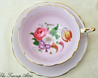 Paragon Pale Pink with Floral Bouquet Teacup and Saucer Set, Garden Tea Party, Wedding Gift, ca. 1960-1963