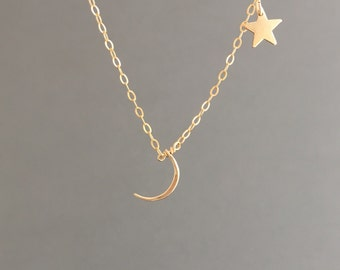 Gold Fill Moon and Stars Necklace also in Sterling Silver and Rose Gold Fill