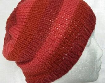 Red Striped Shetland Wool Hat