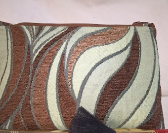 Earth Friendly~Green~Environmentally Friendly~Recycled~Cosmetic Bag~Chenille~Fully Lined~Curvaceous~Turquoise~Brown