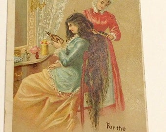 Antique Victorian Trade Card Ayer's Hair Vigor J. C. Ayer and Co. Lowell Mass. Hair Care Advertising Card 1870 - 1900 Health and Beauty Ad