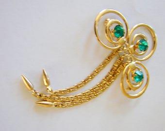 Vintage Retro Aquamarine Rhinestone Tassel Brooch Jewelry Jewellery