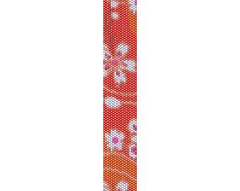 Flowers 6 Peyote Bead Pattern, Bracelet Pattern, Bookmark Pattern, Seed Beading Pattern Miyuki Delica Size 11 Beads - PDF Instant Download