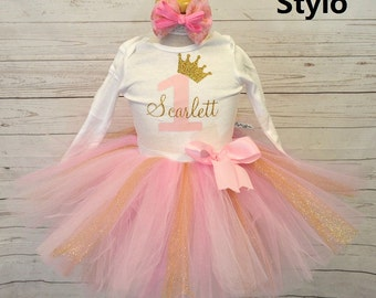 Birthday Girl outfit, FREE SHIPPING, first birthday, pink and gold, crown, girl outfit, birthday girl, one, 1st birthday, pink outfit,