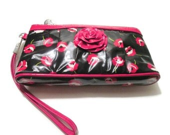 Vera Bradley Frill Vinyl Wristlet Wallet Purse Poppy Fields