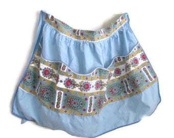 Vintage Blue Apron Rick Rack and Colorful Print Pocket and Trim 1960s
