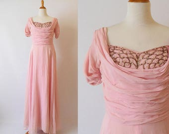 Vintage 1940's  Pink Sheer Evening Dress with Crumb Catcher Embellished with Sequins and seed Pearls