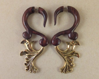 Faux Gauge Baroque Wood and Brass Earrings ~ The gauged look without the commitment! Free shipping