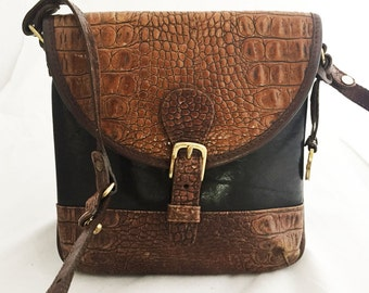 Brahmin Bag - Black leather crossbody bag trimmed in brown leather and accented with brown faux-snakeskin