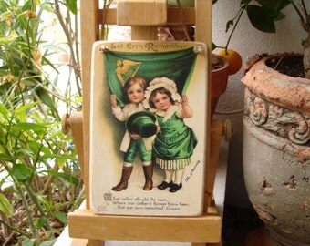 Victorian style, child,St. Patricks day image on wooden tag with string loop, Irish children gift