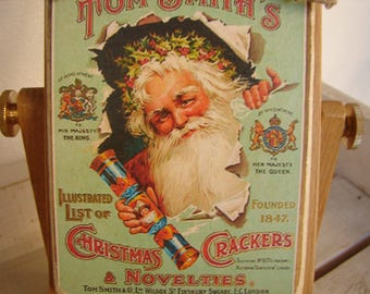 Vintage Christmas crackers & novelties advertising image on wooden tag with string to hang on tree or dresser