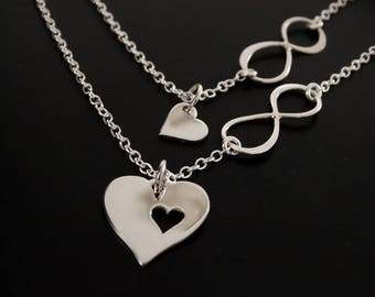 Mother daughter Necklace Mother daughter jewelry heart necklace Infinity Necklace Mothers Necklace Sterling Silver Mothers day from daughter
