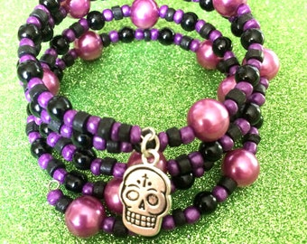 Purple Pearl  and Black Bead Sugar Skull Bracelet Memory Wire Expandable Cuff Coil,Seed Bead Bracelet, Cuff Bracelet, Sugar Skull Bracelet