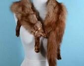 Vintage 40s Fur Stole + Heads + Tails + Paws, 2 Pelt Fur Shawl, Film Noir Rockabilly Retro Fur Wrap, Fur Scarf Wedding Bridal Wrap #4