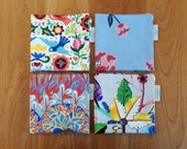 Cocktail Napkins with Birds, Flowers, Mangroves, Purple, Lavender, Blue, Lunchbox Napkins, Mix and Match, Alexander Henry Paloma, California