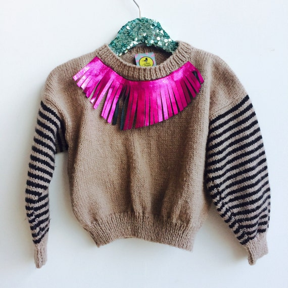 FRINGE 2-3 Years Kids Sweater Jumper Too With Leather Fringing Kids Childrens Upcycled Unisex
