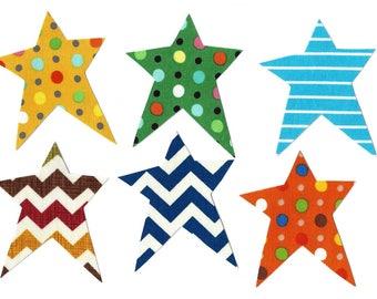 6 Primitive star iron on fabric appliques DIY