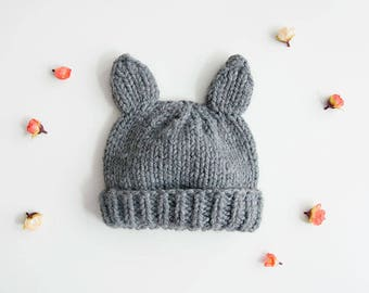 Knitting Kit: Beginners Super Chunky Wolf Hat and Mittens Pattern and Yarn