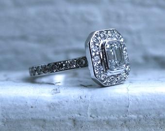 Beautiful Vintage 18K White Gold Diamond and Emerald Cut Diamond Halo Ring - 1.57ct.