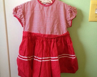 9-12M Baby Girl Vintage Striped Red White Dress 50s 60s Poof Sleeves Baby Doll Dress
