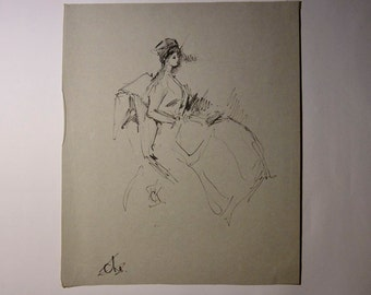 Sketch Of A Woman Original Drawing Signed CK