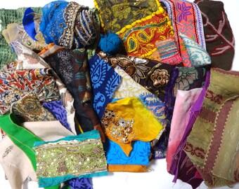1 lb Destash Remnants Ethnic Fabric Scrap Lot for craft