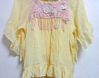 Upcycled Tops Yellow Tunic small -  medium