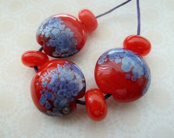handmade lampwork glass bead set, red and purple frit UK