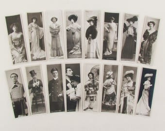 Antique theatrical postcards/bookmarks, set of 16 RARE RPPC's of English actors and actresses from early 1900's, theater collectibles