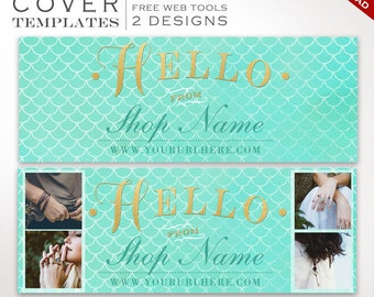 Facebook Cover Template - Mermaid DIY Facebook Cover Image Design - Facebook Cover Photo Facebook Cover Banner Photography SMFB AAB