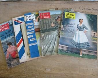 1950s Marie France magazines, 5 vintage French magazines