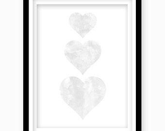 Watercolor Heart Print, Gray Heart, Digital Download, Gray Nursery Wall Decor, Printable Wall Art, Gray Bedroom Decor, Nursery Art