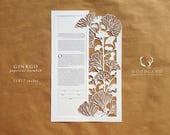 Ginkgo papercut ketubah for Jeremy and András