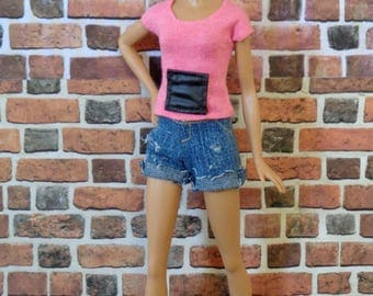 Leather Pocket T Shirt for Barbie, Curvy Barbie or similar size doll