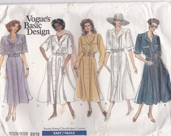 1980s Vogue Basic Design Dress Pattern No 2313 for Misses Dress, 8-12 Size 36 inch bust, Uncut, Factory Folded