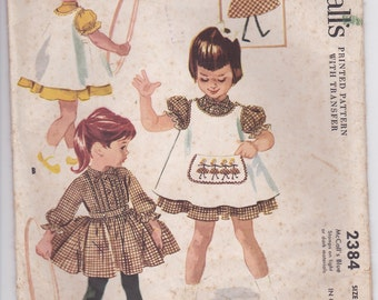 1950's Sewing Pattern - McCalls 2384 Girls Dress, Pinafore and Transfer Size 4 Cut, Complete