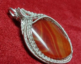 Red Agate Wire Wrapped and Wire Woven Pendant