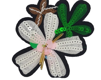 Sewing Flowers Badge Patch with Sequins and Beads, Embroidered Flower Appliques