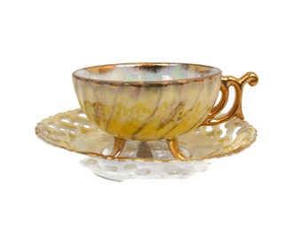 Nippon Yoko Boeki Teacup and Saucer Yellow Lusterware Gold Leaf Trim Reticulated Saucer Iridescent Demitasse Cup Hand Painted