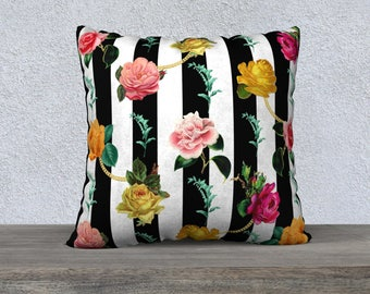 Black & White Stripe with Vintage Flowers Pillow Cover