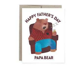 Papa Bear Card, Father's Day Card, Papa Bear Father's Day Card, Funny Father's Day Card