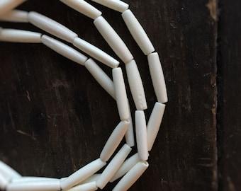 Muskogee Skinny Medium (1 in.) White Native American Bone Beads - Perfect for Organic Jewelry (10)